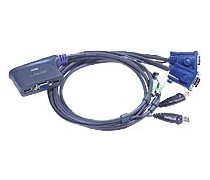 ATEN CS62U Mini-KVM Switch with built-in cables