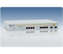 AT-GS950/8POE Fanless WebSmart Switch with 8 x 10/100/1000T, 4 POE capable, and 2 combo SFP uplink ports
